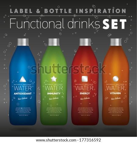 Functional drinks set, colorful bottles on black background, label & bottle inspiration - stock vector