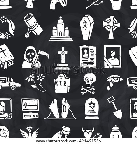 Funeral ,burial icons doodle seamless pattern,background. Vector hand drawn symbol for web,print,art.Vintage  - stock vector