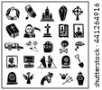 Funeral ,burial icons doodle set. Vector hand drawn symbol for web,print,art.Vintage mortuary elements,symbol.Vector funeral and burial sign,illustration, black isolated silhouette. - stock vector