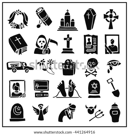 Funeral ,burial icons doodle set. Vector hand drawn symbol for web,print,art.Vintage mortuary elements,symbol. - stock vector