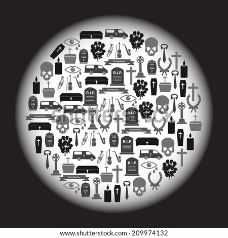 funeral icons set in circle eps10 - stock vector