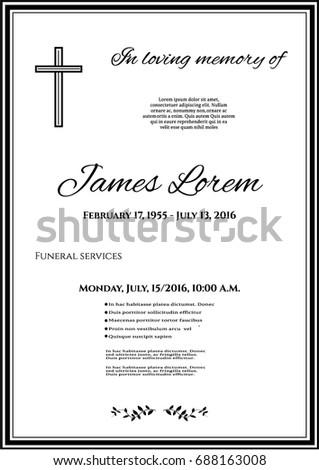 Funeral Template Card Simple Cross Black Stock Vector 688163008 ...