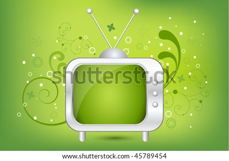 Funky abstract background with cool retro TV - stock vector