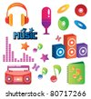 Funky and colorful music set - stock vector