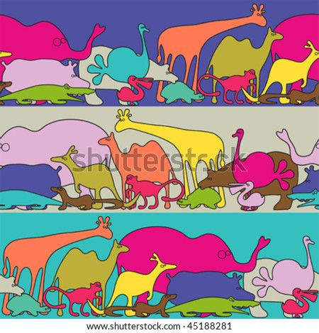 Funky animals - seamless vector pattern - stock vector