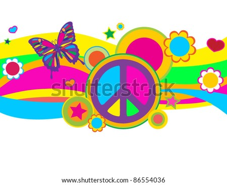 Funky Butterfly Peace Banner - stock vector