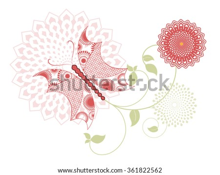 Funky butterfly with flowers - stock vector