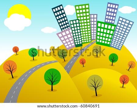Funky cartoon city. Vector illustration - stock vector