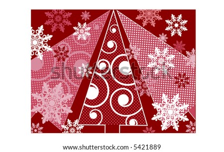 funky christmas trees with snowflakes vector (all patterns are always seamless!) - stock vector