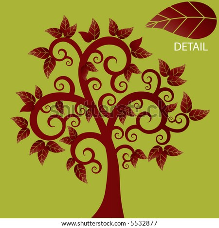 funky coil tree in red vector - stock vector