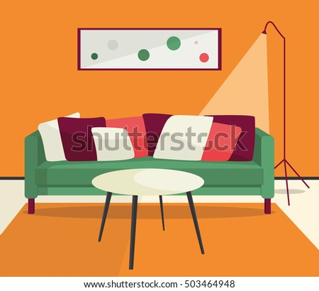 Funky Colorful Interior Furniture Sofa Table Stock Vector 503464948