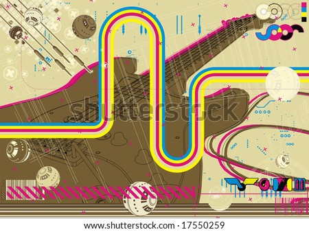 Funky deconstructed grungy layout featuring electric guitar. - stock vector