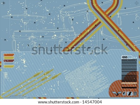 Funky deconstructed grungy layout featuring musical elements in background. - stock vector