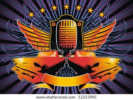 Funky design featuring a shield, microphone and retro American cars. - stock vector