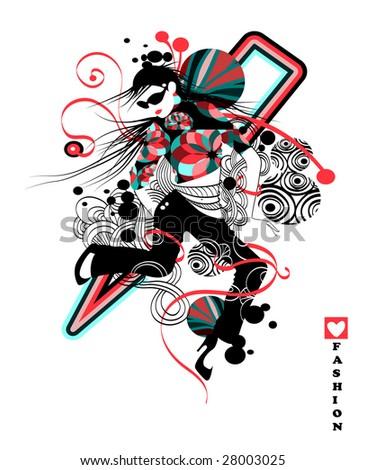 Funky disco dancer, vector - stock vector