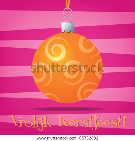 Funky Dutch Christmas decoration card in vector format. - stock vector