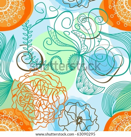 Funky floral background (seamless) - stock vector