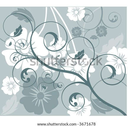 funky flower fun with coil vector - stock vector