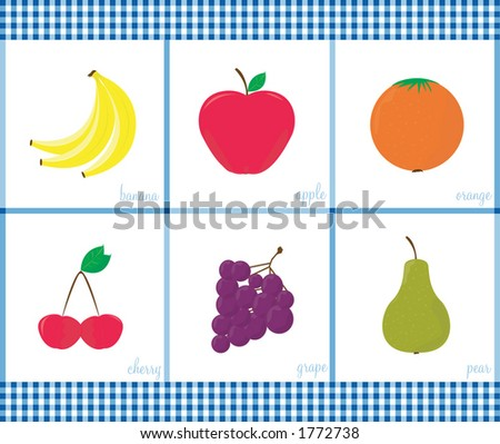 Funky fruits. Fully editable vector files. See my gallery for coordinating veggies. - stock vector