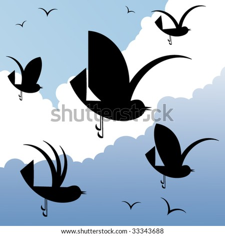 funky geometric birds (5 different wing styles) - stock vector