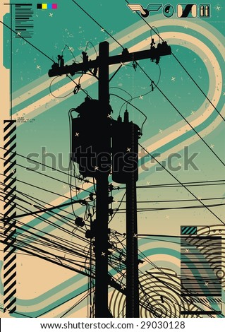 Funky graphic a featuring telephone pole radiating a mass of wires. - stock vector