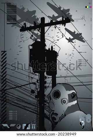 Funky graphic featuring a character wearing a gas mask in front of telephone pole. - stock vector