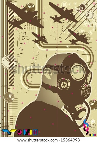 Funky graphic template featuring a character wearing a gas mask. - stock vector