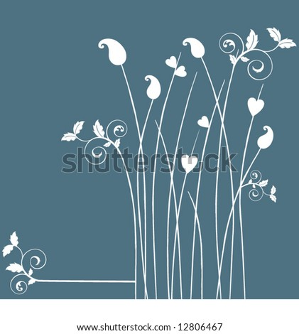 funky grass with leaves - stock vector
