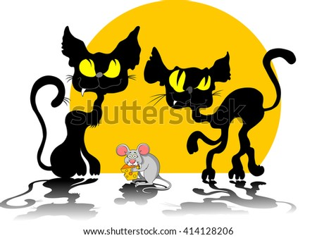 Funky gray mouse with a big piece of cheese and cat - stock vector