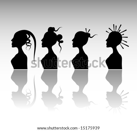 Funky Hairstyle Set 6. - stock vector