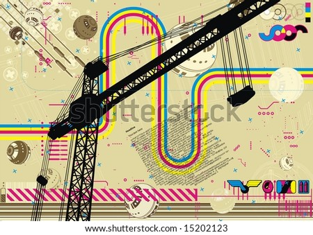 Funky hectic design for the construction industry. - stock vector