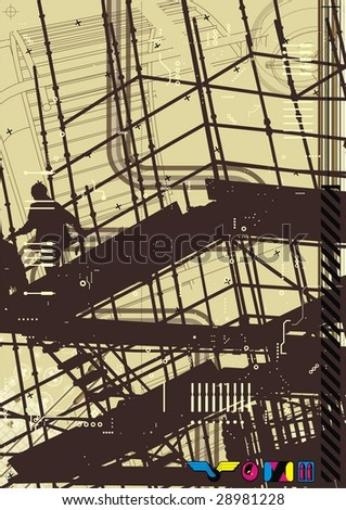 Funky illustration with construction theme. - stock vector