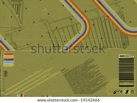 Funky industrial layout featuring architectural elements in background. - stock vector