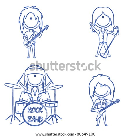 Funky kid's rock band isolated on white background - stock vector