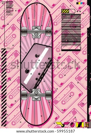 Funky layout featuring a skateboard design on a tape cassette background.