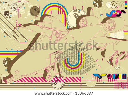 Funky layout featuring an A10 Thunderbolt II (Warthog). - stock vector