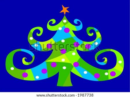 Funky Little Christmas Tree - stock vector