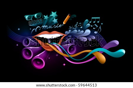 funky music background - stock vector