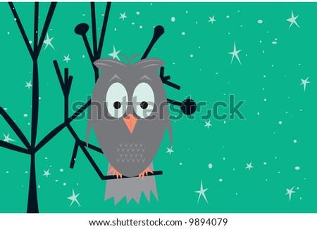 Funky owl illustration. Fully editable vector. - stock vector