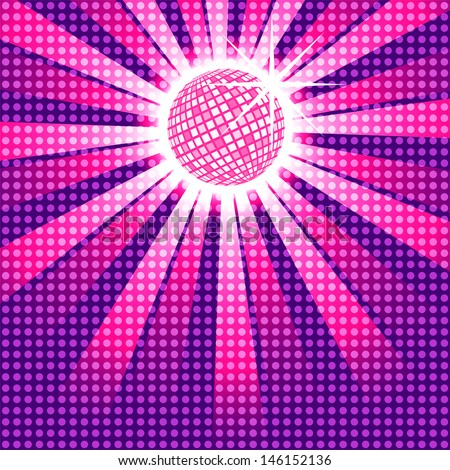 Funky pink discoball with dot overlay, EPS10 vector - stock vector