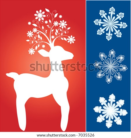 funky reindeer with fun snowflake tree antlers - stock vector