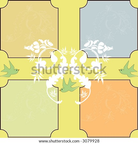funky spring leaves and birds background vector  four presentation colors