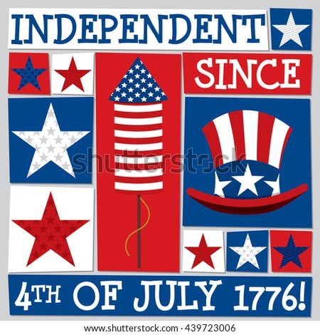 Funky square Independence Day card in vector format. - stock vector