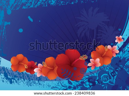 Funky summer background with tropical flowers. - stock vector