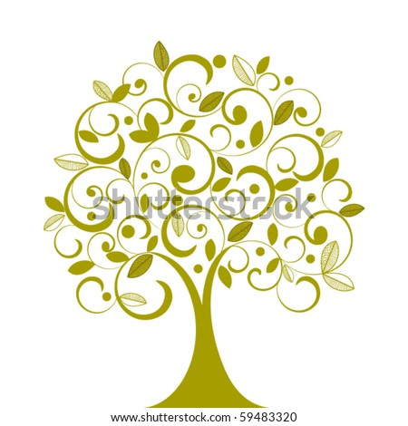 Funky tree coils and decorative leaves - individual elements for changes - stock vector