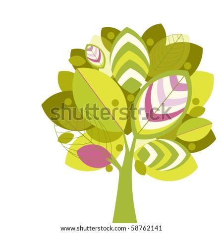 Funky Tree (ESP10) - stock vector