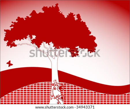 Funky tree with decorative coils and hillside - separate squares to change to individual colors - stock vector