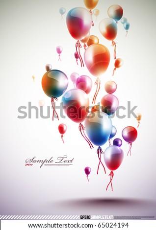 Funky Vector Balloons - stock vector
