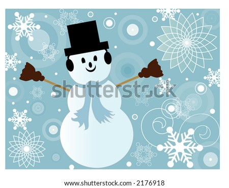 funky winter background series with snowman - stock vector