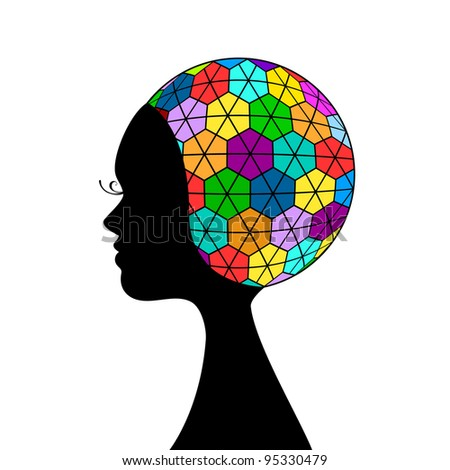Funky woman profile - intelligence concept (full circle) - stock vector